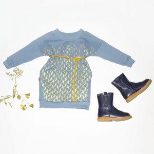 Winter 2018 Pulli für Mädchen blau halb gemustert langarm von punctum